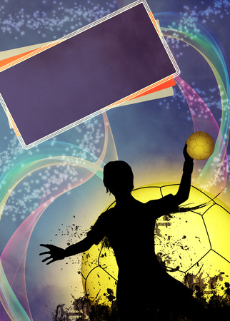 Handball girl match invitation poster or flyer background with space photo