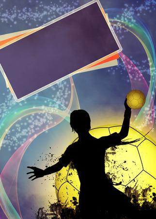 Handball-Mädchen Spiel Einladungsplakat oder Flyer Hintergrund mit Platz Standard-Bild