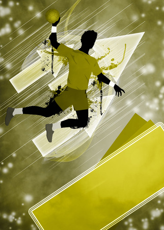 Handball man match invitation poster or flyer background with space photo