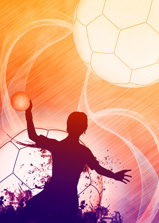 Handball girl match invitation poster or flyer background with space