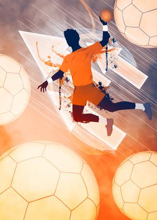Handball Spiel Mann Einladungsplakat oder Flyer Hintergrund mit Raum Standard-Bild