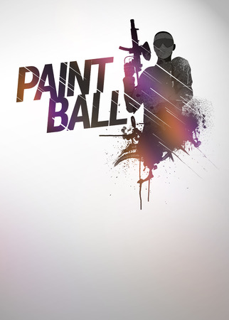 paint gun: Abstract paintball or airsoft game invitation advert background with empty space Stock Photo