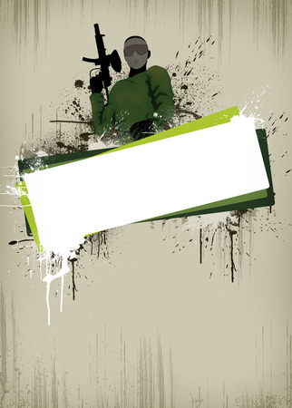 paintball: Abstract paintball or airsoft game invitation advert background with empty space Stock Photo