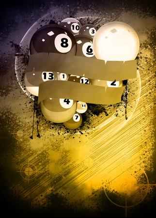 billiard balls: Abstract billiard invitation advert background with empty space Stock Photo