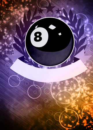 8 ball pool: Abstract billiard invitation advert background with empty space Stock Photo