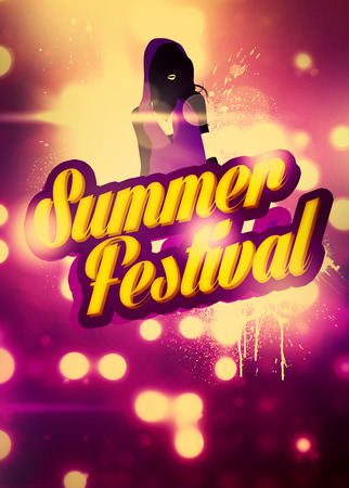 Summer Party Festival invitation advert background with empty space photo