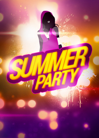 Summer Party invitation advert background with empty space photo