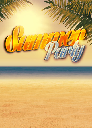 Summer holiday, travel, party advert poster or flyer background with empty space photo