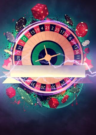 rueda de la fortuna: Invitación cartel ruleta Casino, volante y otros antecedentes anuncio con el espacio vacío