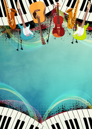 Abstract music night or concert invitation advert background with empty space photo