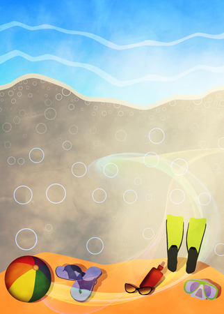 Summer travel invitation advert background with empty space photo