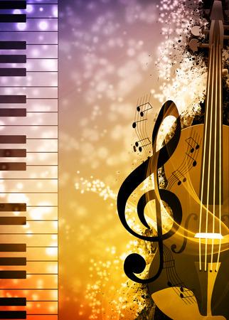 violines: Noche de música de fondo o un concierto invitación anuncio fondo con el espacio vacío