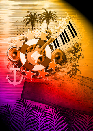 boat party: Abstract music night or concert invitation advert background with empty space Stock Photo