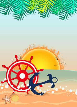 boat party: Summer holiday, travel party advert poster or flyer background with empty space