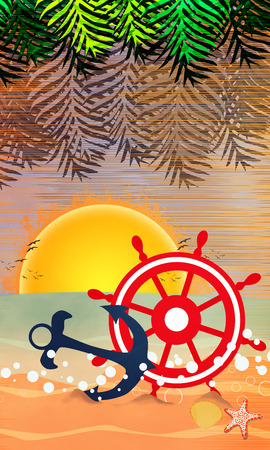 Summer holiday, travel party advert poster or flyer background with empty space photo