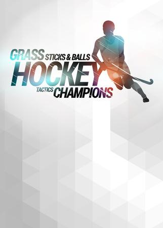 hockey cesped: Hockey sobre césped cartel invitación deporte o fondo del aviador con el espacio vacío