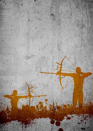 Archery sport invitation advert background with empty space Standard-Bild