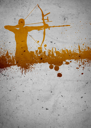 Archery sport invitation advert background with empty space Stock Photo