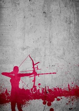 Archery sport invitation advert background with empty space photo