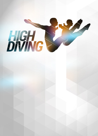 High diving sport invitation advert background with empty space photo