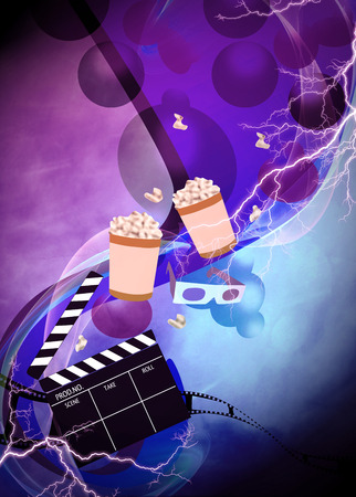Cinema, movie, cinematography advert poster or flyer background with empty space photo