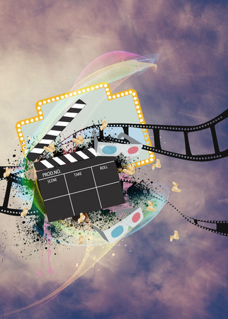 movie poster: Cinema, movie, cinematography advert poster or flyer background with empty space