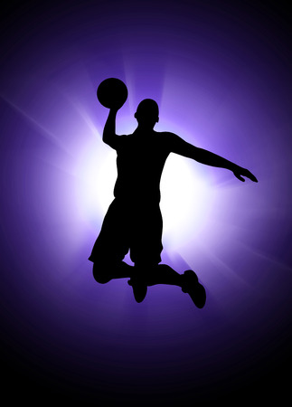 basketball tournaments: Basketball or streetball: sportsman jumping poster or flyer background with space
