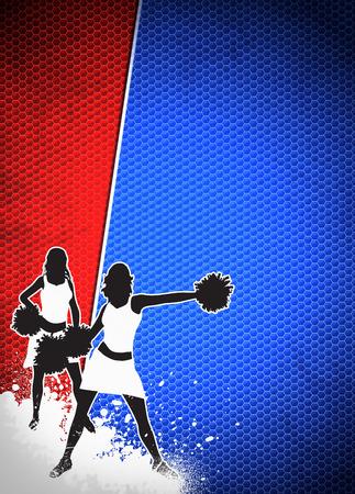 black cheerleader: Cheerleader invitation advert poster or flyer background with empty space