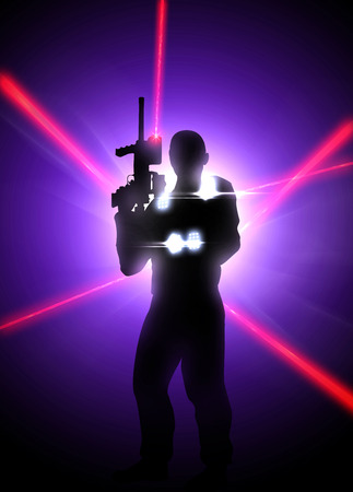 Abstract laser tag poster or flyer background with empty space
