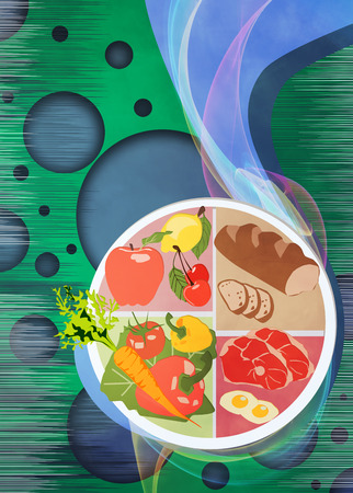 healthy foods: Healthy foods poster or flyer background with empty space Stock Photo