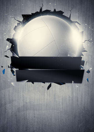pelota de voley: Cartel abstracto del voleibol deporte invitación o fondo del aviador con el espacio vacío