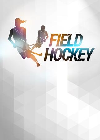 grass hockey: Hockey sobre c�sped cartel invitaci�n deporte o fondo del aviador con el espacio vac�o