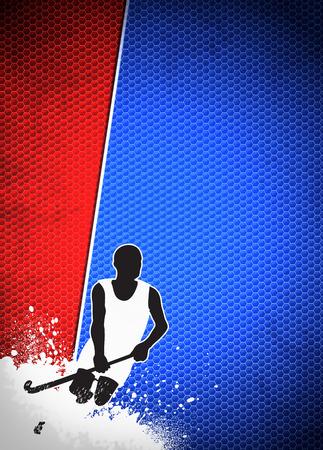 hockey sobre cesped: Hockey sobre césped cartel invitación deporte o fondo del aviador con el espacio vacío
