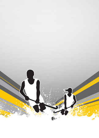 Field hockey sport invitation poster or flyer background with empty space photo