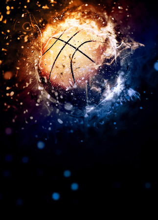 hoop: Basketball sport poster or flyer background with space Stock Photo