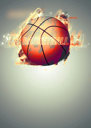 ball lightning: Basketball sport poster or flyer background with space Stock Photo