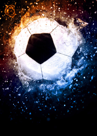 Soccer or football sport poster or flyer background with space Imagens