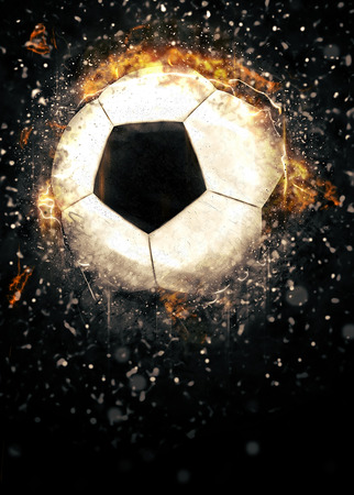 ball point: Soccer or football sport poster or flyer background with space Stock Photo