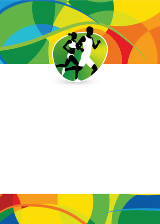 green man: Color running sport flyer or poster background with empty space