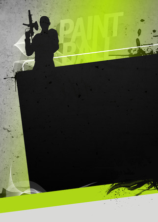 no person: Abstract paintball or airsoft game invitation advert background with empty space. The character is a 3D rendered model, no real person.