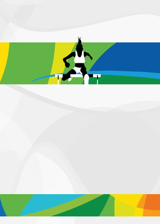 no person: Color hurdles running sport flyer or poster background with empty space. The character is a 3D rendered model, no real person. Stock Photo