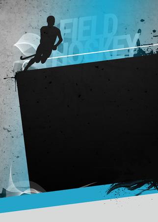 hockey cesped: El hockey sobre hierba cartel invitación deporte o los antecedentes folleto con el espacio vacío. El personaje es un modelo 3D representa, ninguna persona real. Foto de archivo