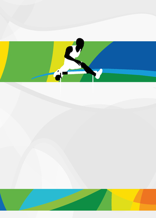 hurdles: Color hurdles running sport flyer or poster background with empty space. The character is a 3D rendered model, no real person. Stock Photo