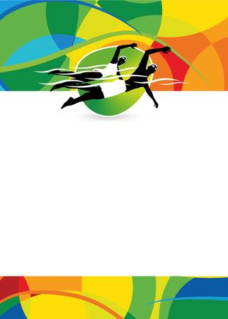 nadar: volante deportivo de natación color o el fondo del cartel con el espacio vacío