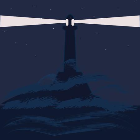 lighthouse at night: lighthouse sea night landscape abstract art illustration minimalism flat style blue background Illustration