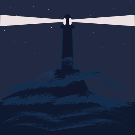lighthouse sea night landscape abstract art illustration minimalism flat style blue background Illustration