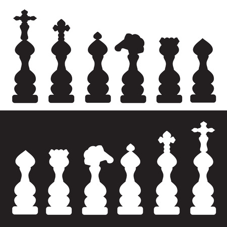chessmen: chess figures in black and white background abstract illustration isolated