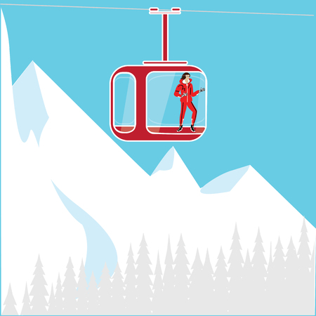 snow forest: a tourist at the cable car mountain snow forest art abstract modern creative illustration light background