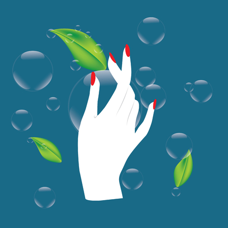 perfumery concept: dew drops leaves green hand lady abstract art illustration design pure line cosmetics ecology blue background Illustration