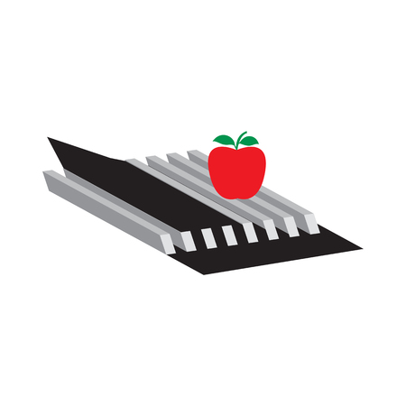 blackandwhite: abstract black-and-white and red apple graphic design element isolated modern creative white background